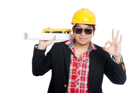 Asian engineer man show Ok sign  isolated on white background photo