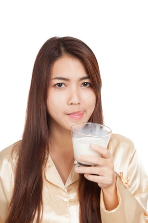 Asian woman drink milk  licking her lip  isolated on white background photo
