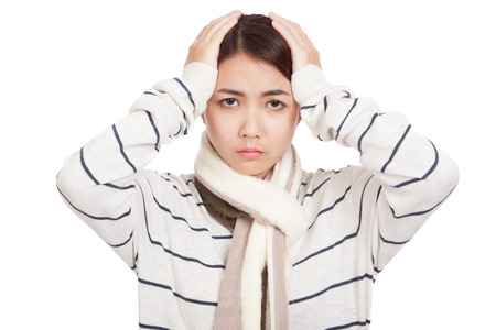 Beautiful Asian girl with scarf got headache  isolated on white background photo