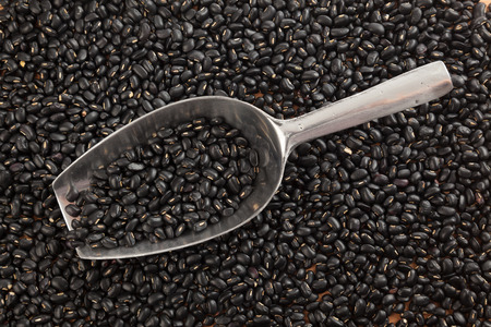 black gram: Black beans with transfer scoop on black beans  background