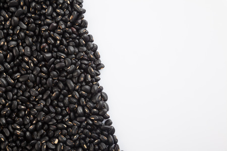 black gram: Top view of Black beans with white copy space Stock Photo