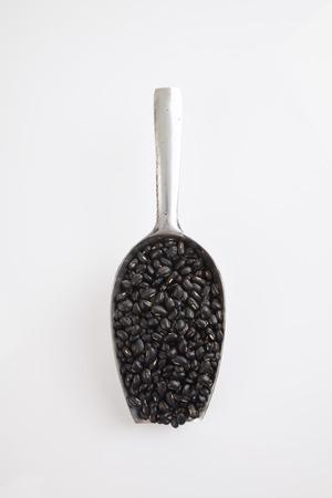 black gram: Black beans with transfer scoop on white background Stock Photo