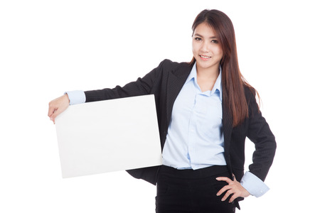 blank sign: Young Asian businesswoman show blank sign  isolated on white background