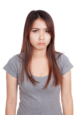 Young Asian woman in bad mood isolated on white background