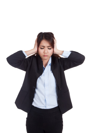 fed up: Young Asian businesswoman got headache isolated on white background