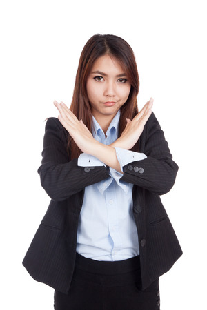 interdict: Young Asian businesswoman gesturing stop cross her arms  isolated on white background