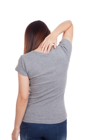 Young Asian woman got back pain  isolated on white background