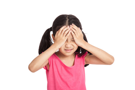 Little asian girl got sick and headache  isolated on white background