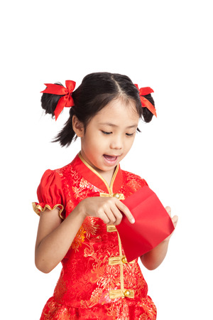 red envelope: Asian girl in chinese cheongsam dress with red envelope  isolated on white background