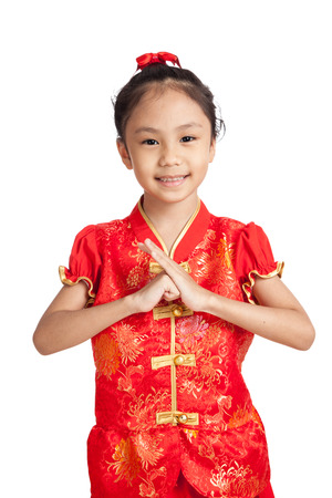 chipao: Asian girl in chinese cheongsam dress with gesture of congratulation  isolated on white background Stock Photo