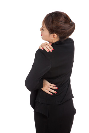 back pain: Young Asian business woman got back pain  isolated on white background