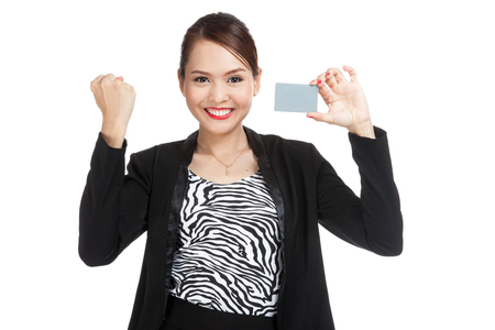 fist pump: Young Asian business woman fist pump with a blank card  isolated on white background
