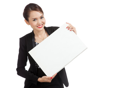 well dressed girl: Young Asian business woman with white blank sign  isolated on white background