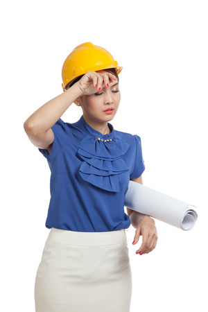 tried: Tried Asian engineer woman with blueprints  isolated on white background