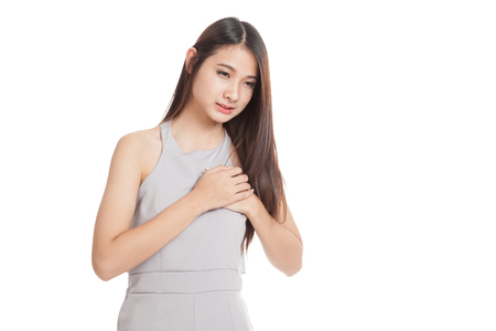Young Asian woman got chest pain  isolated on white background