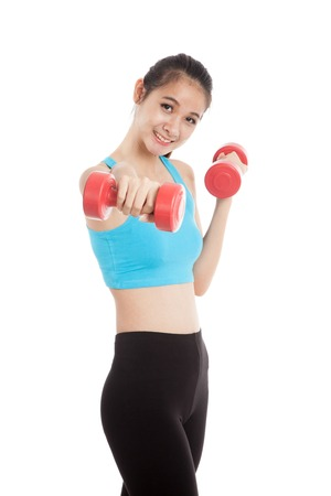 gym girl: Beautiful Asian healthy girl exercise with dumbbell  isolated on white background