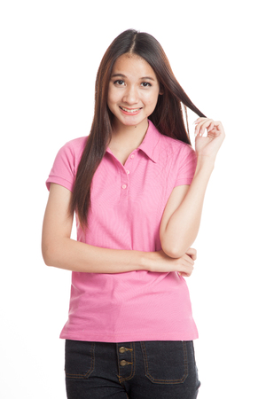 goodlooking: Happy beautiful Asian girl in casual pink T-shirt  isolated on white background
