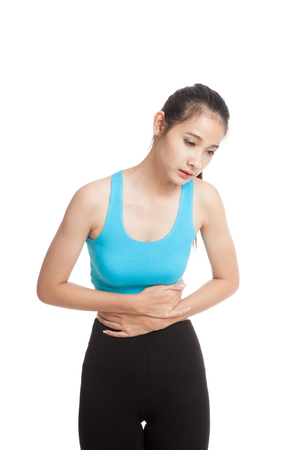 Asian healthy girl got stomachache  isolated on white background Stock Photo
