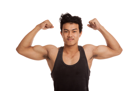 tricep: Muscular Asian man flexing biceps  isolated on white background Stock Photo