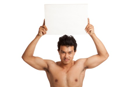 asian abs: Muscular Asian man with blank sign  isolated on white background