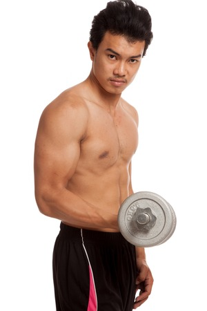 asian abs: Muscular Asian man with dumbbell on white background