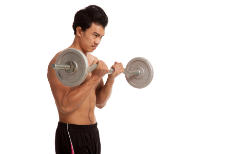 asian abs: Muscular Asian man with barbell  isolated on white background