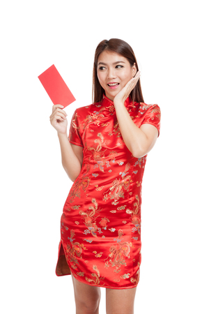 chipao: Asian girl in chinese cheongsam dress with red envelope  isolated on white background