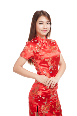 chipao: Asian girl in chinese cheongsam dress  isolated on white background