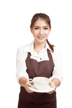 sales promotion: Waitress or barista  in apron  holding coffee  isolated on white background
