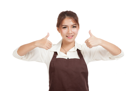 two thumbs up: Asian waitress  in apron two thumbs up  isolated on white background