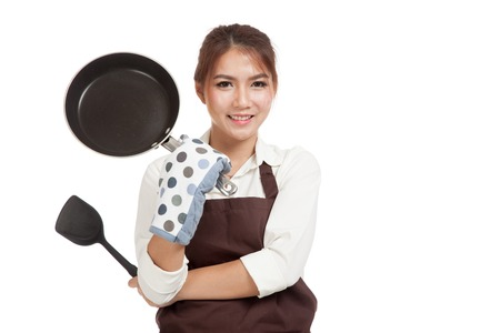 pan asian: Asian beautiful girl cook with frying pan  isolated on white background