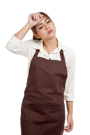 tried: Tried Asian  waitress  in apron  isolated on white background