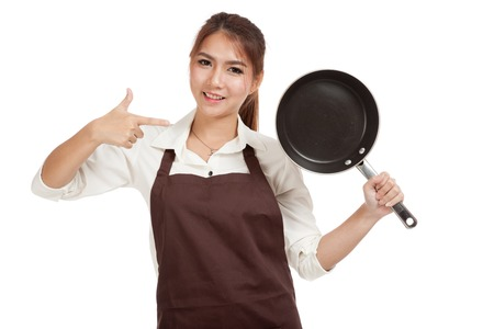 pan asian: Asian girl cook thumbs up  with frying pan   isolated on white background