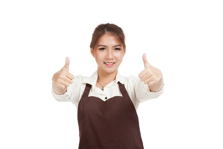 Asian  waitress  in apron show 2 thumbs up  isolated on white background