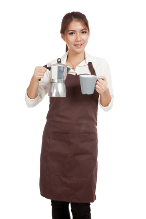 Asian barista girl with coffee Moka pot and cup  isolated on white background