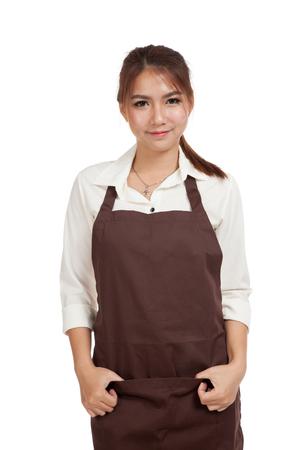 Beautiful Asian  waitress  in apron  isolated on white background