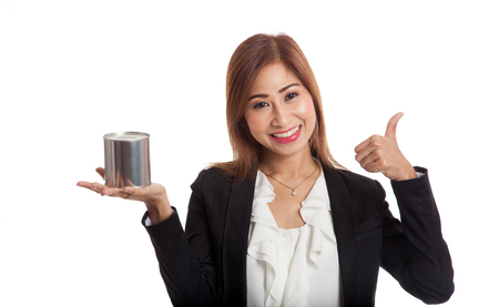woman thumbs up: Asian business woman thumbs up with coin bank  isolated on white background