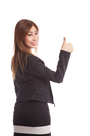 turn back: Young Asian businesswoman turn back thumbs up  isolated on white background