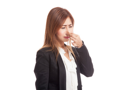 holding nose: Young Asian woman  holding her nose because of a bad smell  isolated on white background