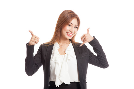 woman thumbs up: Young Asian woman thumbs up show with phone gesture  isolated on white background