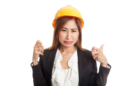 sulk: Asian engineer woman is angry , upset  isolated on white background Stock Photo