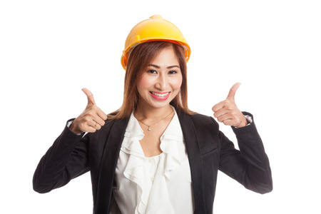 woman thumbs up: Asian engineer woman thumbs up with both hands  isolated on white background