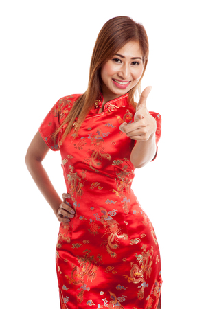 chipao: Asian girl in chinese cheongsam dress on gray background