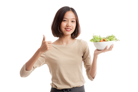 woman thumbs up: Healthy Asian business woman thumbs up with salad  isolated on white background