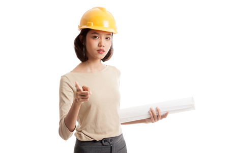 Asian engineer woman pointing with blueprints  isolated on white background
