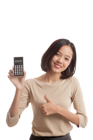 woman thumbs up: Asian business woman thumbs up with calculator  isolated on white background Stock Photo