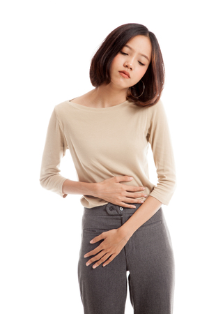Young Asian woman got stomachache  isolated on white background
