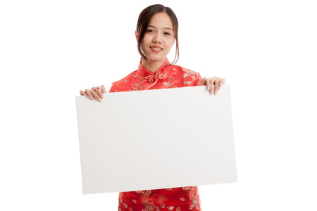 chipao: Asian girl in chinese cheongsam dress with  blank sign isolated on white background