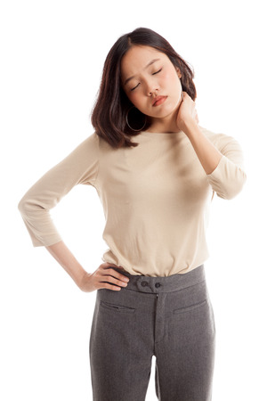 shoulder problem: Young Asian woman got neck pain  isolated on white background