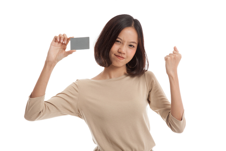 fist pump: Young Asian business woman fist pump with  blank card  isolated on white background